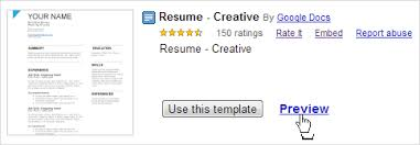 preview button to view a google doc template google resume template