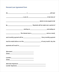Free 7 Personal Loan Agreement Form Samples In Sample