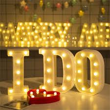 Light Up Letter Led Lamp Bulb Alphabet Plastic Party Sign Wedding