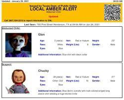 It was created to let residents across the state know when an offender who. Texas Dps Accidentally Issues Amber Alert For Horror Icon Chucky And Son