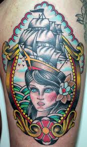 vintage frame tattoo designs. Traditional Ship On Girl Head In Frame Tattoo Design For Thigh Vintage Designs S
