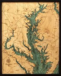 Chesapeake Bay Wood Carved Topographic Depth Chart Map