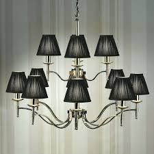 stanford nickel 12 light chandelier black shades new classics chandelier with shades chandelier lamp shades with