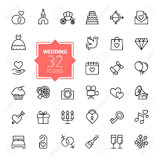 Outline Web Icon Set Wedding Royalty Free Cliparts Vectors And