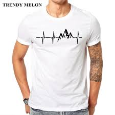 Trendy Shirt Designs 2018 Trendy Melon New Arrival 2018 Fashion Men T Shirt Mountain Heartbeat T Shirt Short Sleeve Casual Tops Summer Tee Maa30 Very Funny T Shirts Witty Tee
