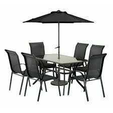 royalcraft cayman 6 seater rectangular anthracite patio set with parasol