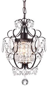amorette 1 light antique bronze finish mini chandelier with crystals