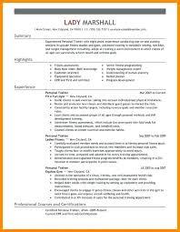 Beginner personal trainer resume