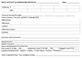 Caregiver Chart Daily Notes For Caregivers With Free Printable Forms For