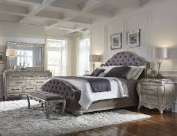 rhianna upholstered bedroom set in silver patina
