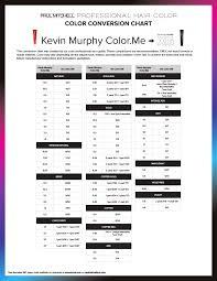 Conversion Tools Kevin Murphy Color Me Conversion Chart
