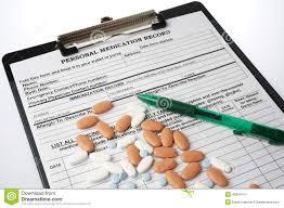 Medical Record Chart Supplies Medical Chart With Prespcription Medicin And Pen Stock Photo