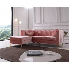 Italian leather furniture stores Living Room Divani Casa Rachel Modern Pink Velvet Sectional Sofa Houzz Modern Contemporary Sofa Sets Sectional Sofas Leather Couches