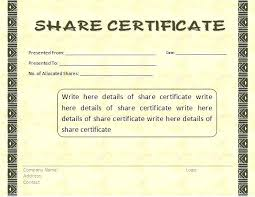 Corporate Stock Certificate Template Word Format Free In And