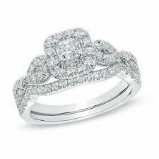 1 Ct T W Princess Cut Diamond Frame Twist Bridal Set In 14k White Gold
