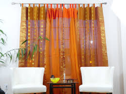 indian cotton silk curtains ds french window ethnic custom curtains or valence rust orange and mango zari work curtains