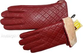 new m womens dressy leather gloves quilted red