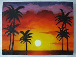 dsc painting silhouette tree paint acrylics palm tree silhouette and rhcom painting with bird art