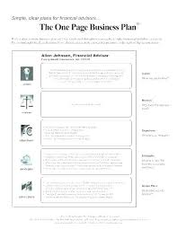 Startup Business Plan Sample Basic Business Plan Template Simple Startup One Page One