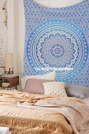small blue dess ombre mandala tapestry fl wall hanging bedspread