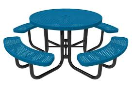 rhino thermoplastic metal round picnic table quick ship portable perforated metal