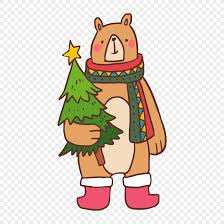 A Bear With A Christmas Tree Png Image_picture Free Download