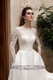 Designer Bridal Gowns With Sleeves Long Sleeve Satin Wedding Dress With Pockets Vintage Weddnig
