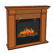 realistic wooden electric artificial fireplace with orange and yellow fire flame interior w fake firewood