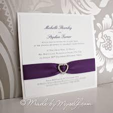 Ribbon Heart Wedding Invitation Flat Card