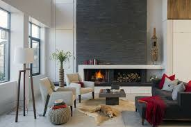 living room gray grey accent wall fireplace walls hide carpet white