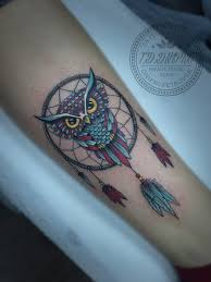 Color Tattoo Owl And Dream Catcher On The Leg Tattoo Artist In