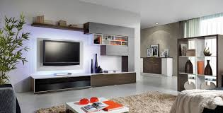 Small Picture Unique wall shelves create a tidy niche for the television
