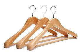 j s hanger extra wide shoulder wooden suit hangers natural finish with non slip bar 3