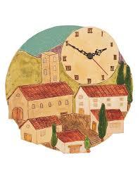 Horloge De Cuisine Rustique Village Méridional Pendule De Qualité Et Pas Cher