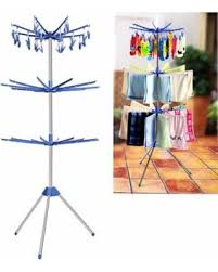 Folding Towel Laundry Hanger Dryer Stand Three Tiers Drying Rack Portable  ROJE