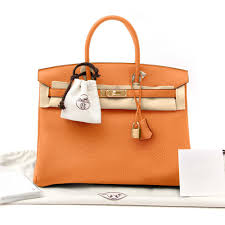new hermes birkin bag 35 togo orange women s handbag image 0