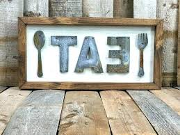 eat sign for kitchen wooden letters wood decor rustic metal signs