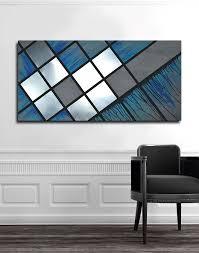 custom made blue grid 48x24 abstract painting wood art metal art modern