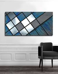 custom made blue grid 48x24 abstract painting wood art metal art modern
