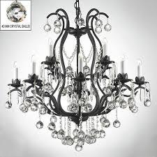swarovski crystal trimmed chandelier wrought iron crystal chandelier chandeliers lighting dressed w crystal a83 b6 3034 8 4 sw by gallery