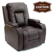 Brown Armchair Oscar Leather Recliner W Drink Holders Armchair Sofa Chair