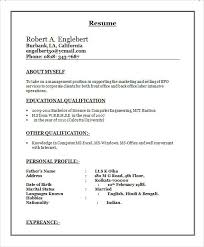Performa Of Resume Unique Resume For Freshers Call Center Job Wwwbuzznowtk