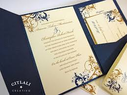 Wedding Invitation Folder Antique Gold Navy Filigree Flourish Pocket Folder Wedding Invitation