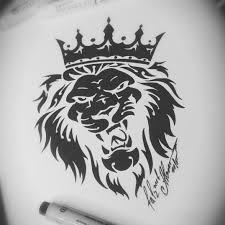 тату эскиз лев и корона Vtattoo