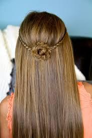 Pretty Girls Hairstyle braided flower tieback hairstyles for long hair cute girls 7174 by stevesalt.us