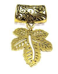 scarf pendant antique gold leaf cl486
