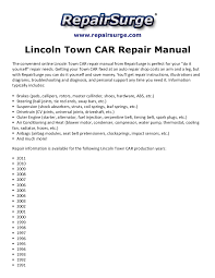 lincoln town car repair manual 1990 2011