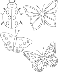 Small Picture Three Butterflies and Ladybug Coloring Page Insects