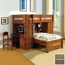 wood twin loft bed with desk and storage
