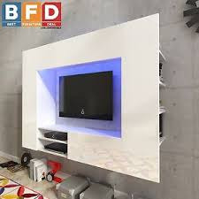 Image is loading White-High-gloss-Living-wall-unit-TV-Cabinet-